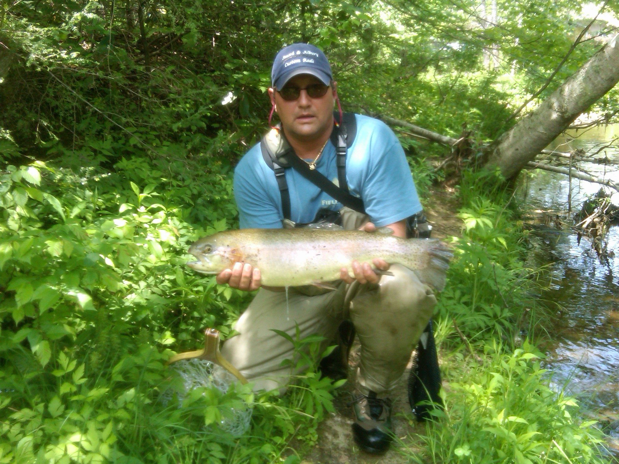 "Steve Ralls with a 26"" 8lb Rainbow Trout on a 3wt fly rod by Smith & Albury"